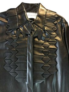VIKTOR & ROLF Leather Cut-out Modern & Blouse Shirt Button Down Shirt Black