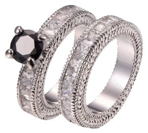 Other 2PC Wedding Set W/Eternity Band & Onyx Over 4TCW