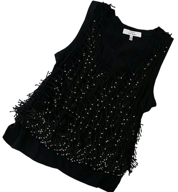 Robert Rodriguez Embellished Silk Top Black Beaded