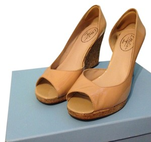 L'Atelier D'orsay Summer Patent Leather Nude Wedges