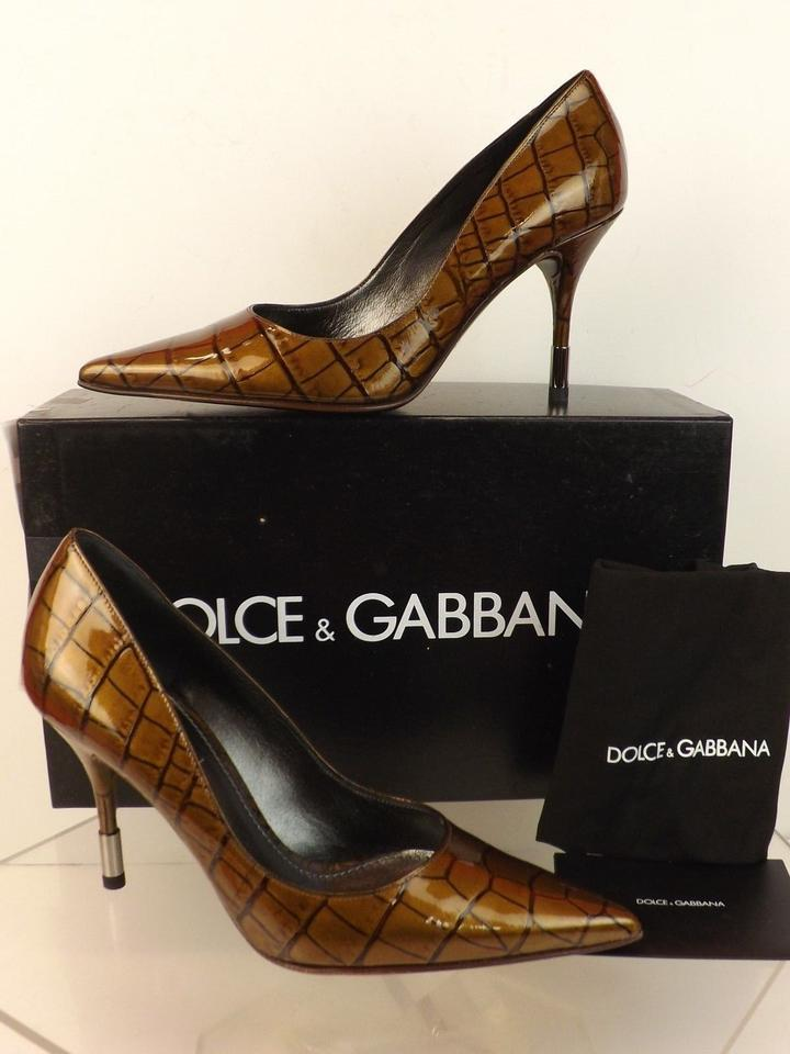 Croco Dolce Leather Bronze Pumps Printed amp;Gabbana Pointed Patent qE4EF7