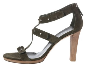Gucci Gc.j0929.06 Strappy Olive Wood T Strap Sandals