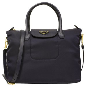 Prada Nylon Leather Tote in black