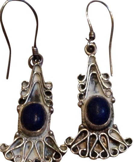 Other Sterling Silver Blue Lapis Deco Dangle Earrings