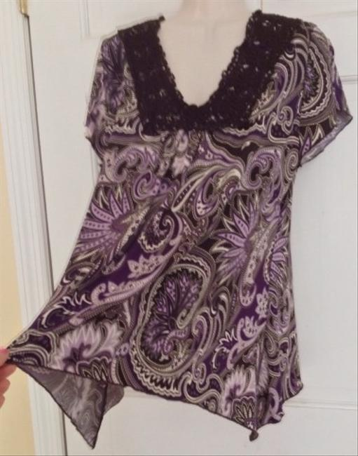 Dress Barn Top Purple Brown Paisley