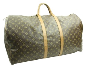 Louis Vuitton Lv Duffle Lv Keepall Bandouliere Boston Speedy Leather Monogram Brown/Tan Travel Bag