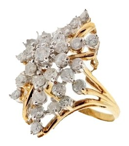 SALE - Cocktail ring - 10k 2.5 carats TW diamond ring