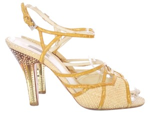 Prada Strappy Straw Natural Basketweave Leather Jeweled Embellished Yellow Sandals