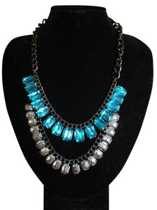 Divided by H&M H&M Blue White Dazzling Rhinestone Necklace Layered Chain Statement Bloggers