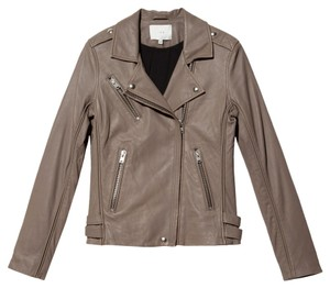 IRO Leather Lambskin Gray Beige Zip Fitted Motorcycle Leather Jacket