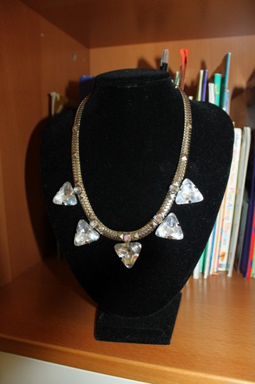 Divided by H&M H&M Silver Chain Studs Triangle Rhinestone Gems Spike Necklace Choker