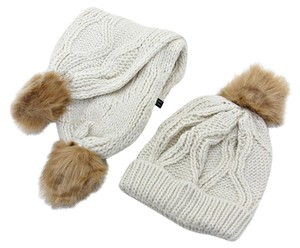 Other Beige Fur Pom Pom Accent Knitted Winter Scarf and Beanie Hat Set