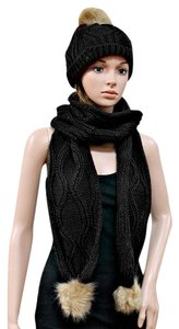 Other Black Beige Fuax Fur Pom Pom Accent Knitted Winter Scarf and Beanie Set