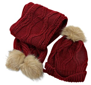 Burgundy Beige Fur Pom Pom Accent Knitted Winter Scarf and Beanie Hat Set