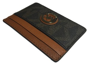 Michael Kors Michael Kors Fulton Signature MK Brown PVC/Luggage Leather Credit Card Case Holder