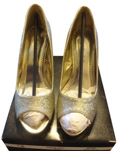 Rampage Glitter Heel Pump Peeptoe Gold Formal