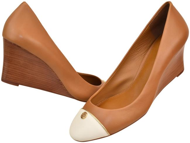 Item - Brown Tan Ivory Leather Tiffy Cup-toe Gold Reva Wedge Pumps Size US 8.5 Regular (M, B)