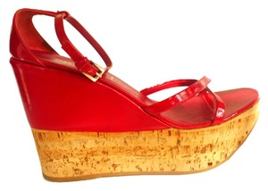 Prada Wedge Cork Platform Patent Leather Red Sandals