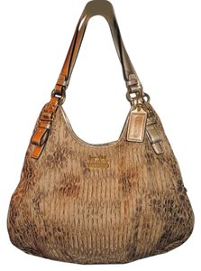 Coach Madison Maggie Jaquard Fabric Satchel in Gold with gold tone hardware