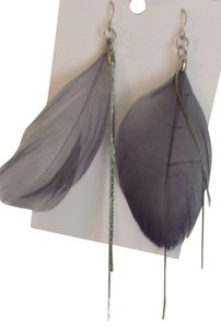 Claire's Gray feather and silver chain earrings