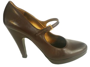 Prada Mary Jane Leather Brown Pumps