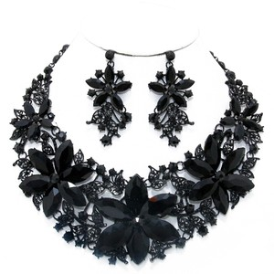 Black Rhinestone Crystal Floral Bouque Necklace and Earring Set