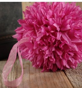 """Save On Crafts Pink Silk Flower Ball 6"""" with Ribbon Hanger Other"""