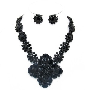 Black Rhinestone Crystal Floral Motif Necklace and Earring Set