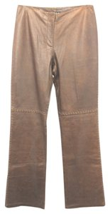 INC International Concepts Leather Straight Pants BROWN