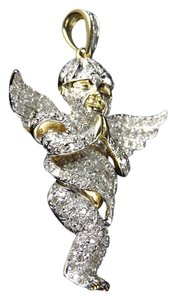 Jewelry Unlimited Yellow Gold Finish Genuine Diamond Fully Iced Out Baby Angel Pendant (1.60ct)
