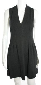 Cynthia Steffe Office Work Grey Gray Black Waist Pleated Deep V Plunging Cocktail Thick Sleeveless Dress