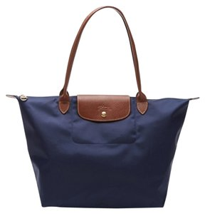 Longchamp Le Pliage Long Handle Large Navy Blue Tote Bag