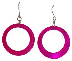 Icing Pink circle cutout shell earrings on silver fishhooks
