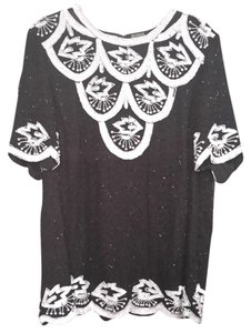 Roaman's Vintage Bbw Plus-size Top Black & White Sequins