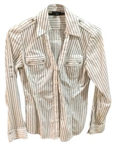 Express Button Down Shirt Black and white stripes