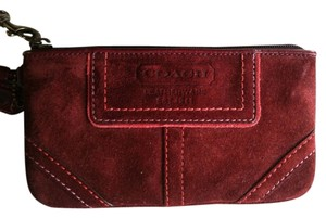 Coach Suede Wristlet in Burgundy