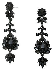 Black Rhinestone Crystal Floral Motif Drop Dangle Earrings