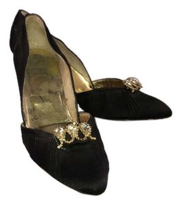 Alessi Vintage Satin Black with rhinestone clip Pumps