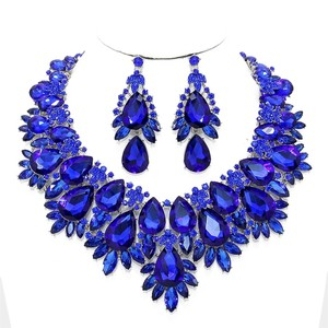 Blue Sapphire Rhinestone Crystal Floral Bouquet Necklace and Earring Set