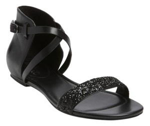 Cole Haan Flat Glitter Leather Strappy Black Sandals
