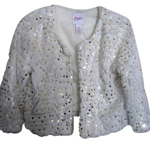 Candie's Opera New Textured Fully Lined White Jacket