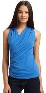 Theory Stretch Sleeveless Wrap Professional Dressy Top Blue