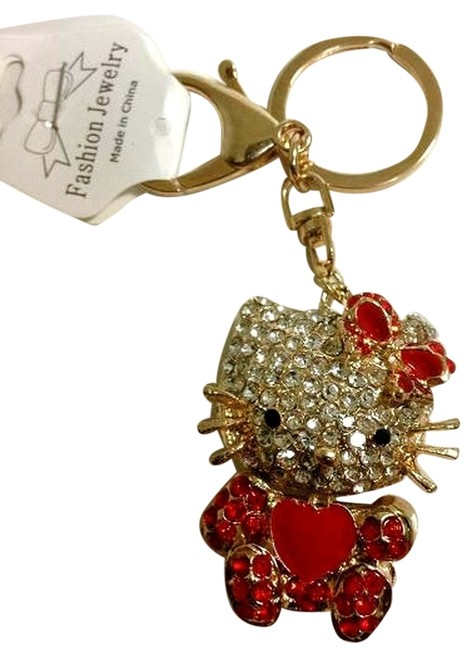 Item - Red/Gold/White 3 D Swarovski Keychain
