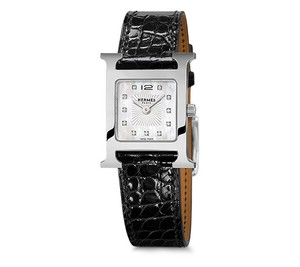 Herms Hermes H Hour (PM) Diamond Watch with Black Alligator leather bands
