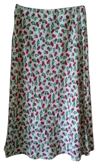 Other Fruit Cherry Print White Cute Rayon Long Food Preppy Casual Unique Boho Career Juniors Demure Dainty Frilly Retro 8 9 Skirt White,red
