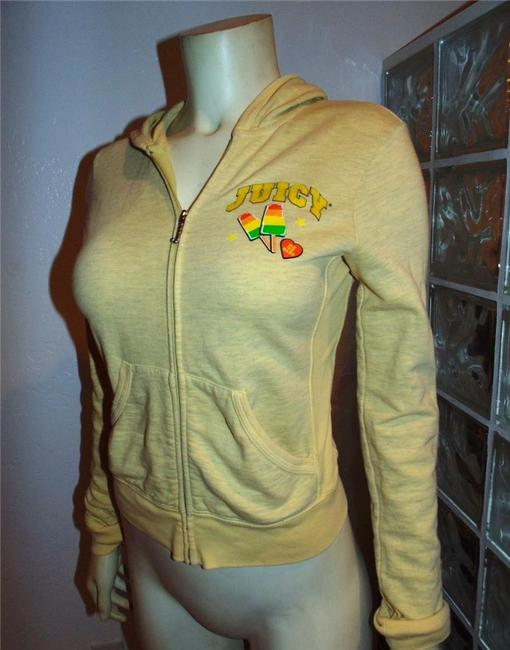 Juicy Couture Sweater Size Small YELLOW GREEN PINK Jacket Image 1