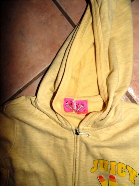 Juicy Couture Sweater Size Small YELLOW GREEN PINK Jacket Image 4