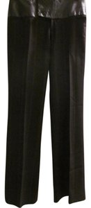 Alvin Valley Leather Wool Pinstripe Trouser Pants Chocolate Brown