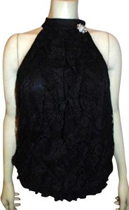 AGB Sleeveless BLACK SILVER CRYSTAL Halter Top