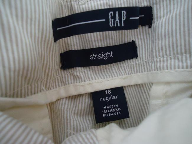 Gap Seersucker Spring Summer Light Weight Straight Pants Khaki/mini stripe